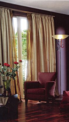 Gold curtains with pleated heading and gold voile secondary curtains on secondary pole Drapes And Blinds, Gold Curtains, Interior Decorating, Interior Design, Curtain Poles, Showcase Design, Soft Furnishings, Window Treatments, Upholstery