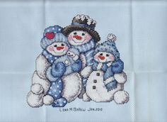 Counted Cross Stitch Snowman Family Postcard | Flickr - Photo Sharing!