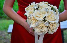 felt rose wedding bouquet rustic wedding garden wedding