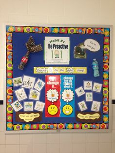 Be Proactive - 7 Habits bulletin board....love this bulletin board!! Perfect for my habit of the month bulletin board in my room!