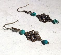 Natural Raw Turquoise Filigree Brass Faerie by TheBlueYonderStudio, $29.00