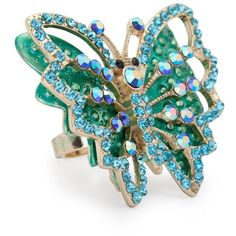 Aqua Crystal Mix Butterfly 3D Ring ($15) ❤ liked on Polyvore featuring jewelry, rings, women's jewellery, aqua blue jewelry, monarch butterfly jewelry, crystal stone jewelry, butterfly jewelry and butterfly ring