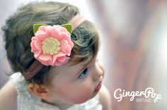 Felt Flower Headband - 100% Wool Felt Pink Ruffle Flower Headband
