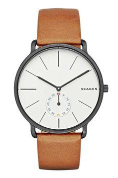 Skagen Men's Men's Hagen Cognac Leather Three Hand Watch - Cognac - One Size Skagen Watches, Army Watches, Wrist Watches, Rolex Watches, Best Watches For Men, Cool Watches, Cheap Watches, Nato Armband, Dezeen Watch Store