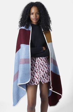 Topshop+Multicolor+Blanket+Cape+available+at+#Nordstrom