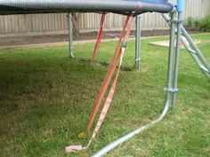 to Secure a Trampoline for High Winds Best Trampoline, Backyard Trampoline, Backyard Playground, Trampoline Ideas, Backyard Toys, Backyard Retreat, Trampolines, Backyard Projects, Outdoor Projects