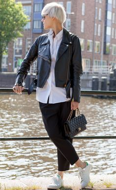 Relaxed, pleated pants with a leather jacket is laid back cool. Linda Tol in the Anson pleated pant.