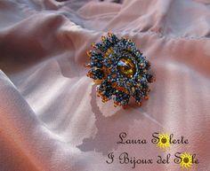 Anello Nymphea Cerulea topaz & blue con cristallo #swarovski , perline miyuki #charlottes preciosa