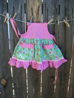 Child Apron Little Girl Flamingo Apron with Ruffle Fits | Etsy