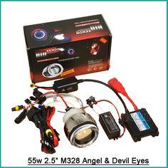 57.32$  Buy now - 55W 2.5 H4 HB2 9003 M328 Car HID Bi-Xenon Projector Lens Kit Angel Devil Eyes for 12V Car Motorcycle Bike SUV Headlights H1 H7  #buyonline