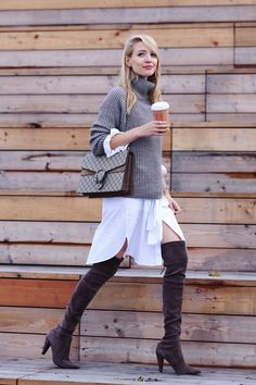 chunky turtleneck sweater with asymmetrical skirt