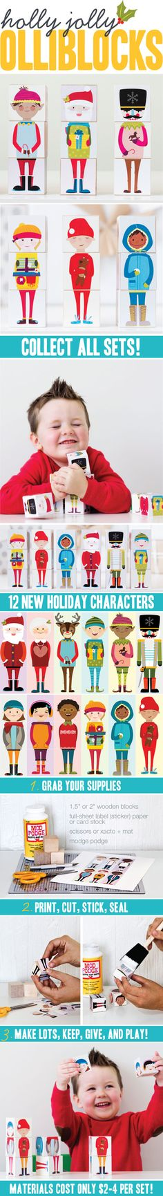 Hooray for winter! Winter and Christmas Olliblocks are here! This set includes Winter Kids and Holly Jolly Olliblocks! The set comes with 12 characters. Christmas Activities, Activities For Kids, Homemade Christmas, Christmas Holidays, Noyeux Joel, Homemade Gifts, Diy Gifts, Holiday Crafts, Holiday Fun