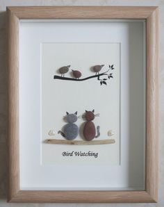 This is a beautiful small Pebble Art framed Picture of 2 Cats watching Birds- Bird Watching handmade by myself using Pebbles and Driftwood Size of Picture incl Frame : approx. 22cm x 17cm Thanks for looking Doris Facebook: https://facebook.com/Pebbleartbyjewlls4u Product Code: P - Pink