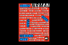 Bold red NRMAL festival poster with black and white zine-like typography
