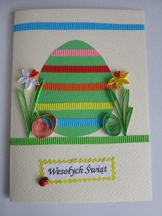 Wielkanoc- kartki Wok, Quilling, Happy Holidays, Origami, Frame, Cards, Decor, Crafting, Bedspreads