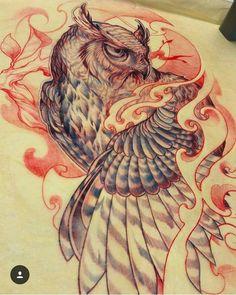 "324 Likes, 6 Comments - Asian Inkspiration (@asian_inkspiration) on Instagram: ""Beautiful owl tattoo design by 💥 @jj_claudio 💥  #asian_inkspiration #instagram #traditionaltattoo…"""