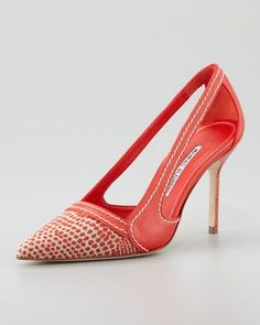 Manolo Blahnik Tifo Spotted Fabric-Toe Pump, Red - Neiman Marcus #shoes www.finditforweddings.com