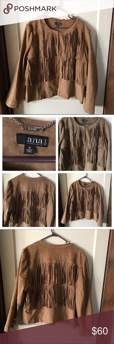 "NWT!  Faux Suede Fringe Jacket Faux suede fringe jacket. New and never worn.  Length:  24"". Armpit to armpit:  25"". Hook and eye closure a.n.a Jackets & Coats"