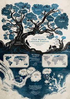 I like this map infographic because it uses a variety of maps to display information. There is the literal tree map that shows the different language families. Then the maps that show their geographic location. European Languages, World Languages, Learn Languages, World History, Family History, Web Comic, Comic Artist, Fun Facts, Crazy Facts