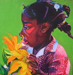Sunflower girl Watercolour