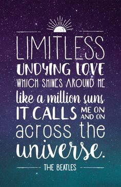 Beatles Lyrics Quote Poster - Across the Universe
