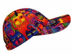 Kaleidoscope Cats - OSFMost - Bright Rainbow Multi-Color & Gold Ladies Baseball Cap Hat made w/ Laurel Burch Fanciful Feline fabric via Etsy