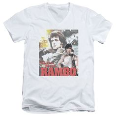 Rambo:First Blood/They Drew Collage Short Sleeve Adult T-Shirt V-Neck 30/1 in