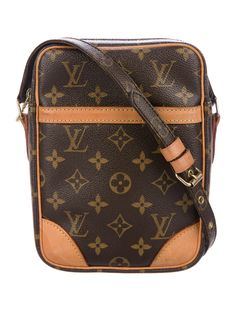 880130f224d Brown and tan monogram coated canvas Louis Vuitton Danube bag with brass  hardware