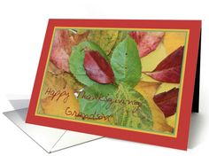 Happy Thanksgiving fall foliage greeting card for Grandson card