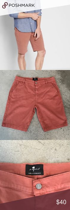 7 for All Mankind Men's Chino Cotton Blend Shorts 7 for All Mankind Men's Chino Cotton Blend Shorts in Red Earth (looks like a burnt orange), Size 33  Crafted from beautiful Italian sateen, amazing shorts with a warm hand and additional Luxe Performance qualities: comfort both inside and out along with great fabric recovery.   Fabric & Care: 8.25 oz Stretch Italian Sateen, 87% Cotton, 10% Polyester, 3% Spandex   Excellent used condition. 7 For All Mankind Shorts