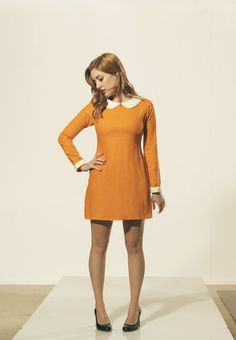 An Orange and White Peter pan collar dress Moonrise Kingdom Suzy Bishop style. 1960s mod look. Made with stretchy cotton. You can iron on a low heat