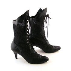Black Lace Vintage Boots 1980s