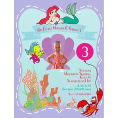 #invites #mermaid #ariel #personalised #birthday