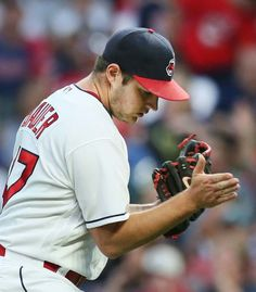 Cleveland Indians Trevor Bauer pound the glove after getting out of a two on, one out jam in the 6th inning against the Texas Rangers at Progressive Field, on June 28, 2017. (Chuck Crow/The Plain Dealer). Indians won 5-3