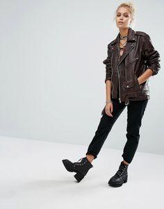 Image 4 ofMilk It Vintage Oversized Leather Biker Jacket