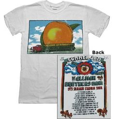 Allman Brothers Band white T-shirt distressed `Eat A Peach` summer `73 tour tee