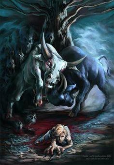 White Bull vs. Black Bull while Stevie Rae escapes...love this image.