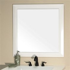 31 5 Square Wood Frame Mirror With White Finish Free Shipping 198 00