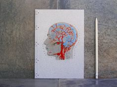 Brain Anatomy Journal. Embroidered Notebook. by FabulousCatPapers