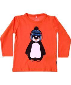 Name It adorable orange t-shirt with winter penguin. name-it.en.emilea.be