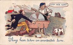 Bulldog Watching Man Turning Grinder To Shapen Tool on 1909 Comic PC-Ad on Back