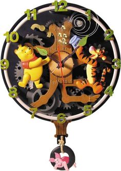 Winnie the Pooh Animated Wall Clock...Mickey & Disney Princess Also available!:Amazon:Kitchen & Dining