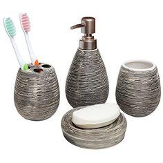 Cynthia Rowley 4 Pc Ceramic Bathroom Accessory Set Paisley