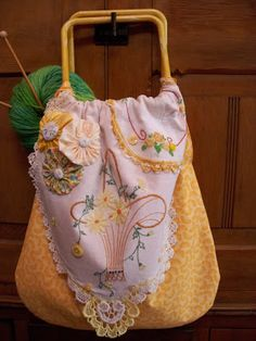 repurposed vintage linens into a knitting bag