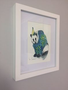 Party Panda is part of a series of party animals painted with water colours. This is a PRINT of the original painting, printed on high quality art paper.  The print does NOT come with the frame pictured, it is used here just to demonstrate What it would look like framed. The print will fit in a standard frame made for A5 size. Or you can have the print professionally framed to help the print to last longer. The measurements of the print are - 14.8cm - 21cm or 5.8inch - 8.4inch  I am happy to…