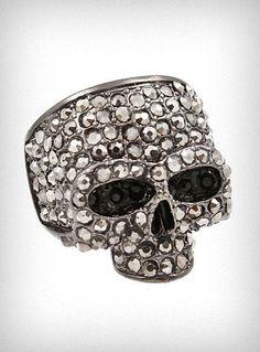 Gunmetal Sparkles Skull Ring - $17.00   http://www.shopplasticland.com/fashion/p/P20323518.html