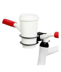 Bicycle Cup Holder: Thanks to this durable handlebar-mounted cup holder, you can enjoy your cup of coffee... on wheels.
