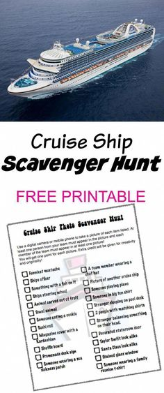 Cruise Ship Photo Scavenger Hunt – FREE PRINTABLE – great activity to do with th… – Hier sind die besten Sightseeing-Touren der Welt. Cruise Tips, Cruise Travel, Cruise Vacation, Disney Cruise, Vacation Packing, Cruise Packing, Honeymoon Cruise, Bahamas Cruise, Packing Checklist