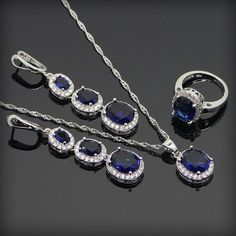 Trendy Round Bule Sapphire 925 Sterling Silver Jewelry Sets For Women 925 Sliver Necklace Pendant Rings Earrings Free Gift Box www.bernysjewels.com #bernysjewels #jewels #jewelry #nice #bags