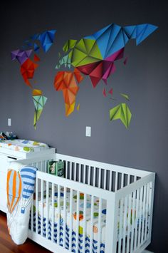 "Modern take on ""Oh the Places You'll Go""-themed nursery - #nursery #modern"